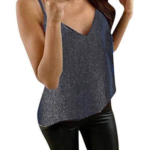 exy V-Ausschnitt Spaghetti Strap Top Mode Glitzer Pailletten Ärmellos T-Shirt Große Größen Tank Camisole Oberteil Clubwear Weste Bluse ()