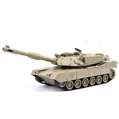 GizmoVine RC Maqueta de Tanque Escala 1:28 Tanque de Batalla y Lucha Radio Control EEUU M1A2 Tanque de Batalla con Mando a Distancia Juguetes para Niños Chicos 27Mhz Color Caqui