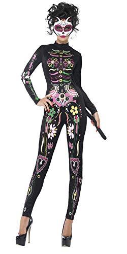 Kostüm Katze Halloween Adult - Smiffy's 43735M - Zuckerschädel-Katzen-Kostüm mit Printed Bodysuit