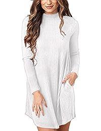 Cnfio Maglione Manica Lunga Donna Semplice Maglia Vestito Ragazza Knit  Pullover Magliette Tumblr Invernali Casual Mini 3a19fa15dc0