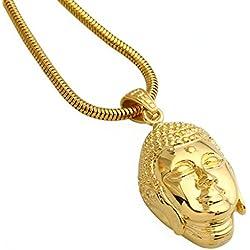 AMDXD Joyería De Los Hombres De Acero Inoxidable De La Cadena Del Collar Colgante De La Serpiente Del Oro Cabeza Buda