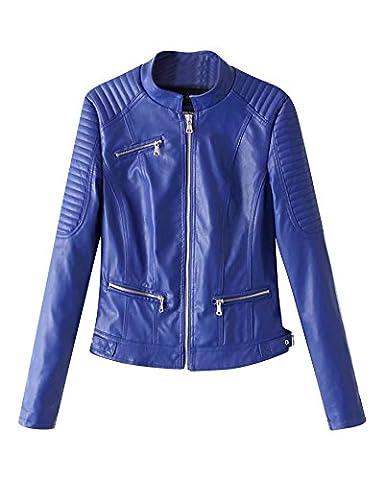 Blouson Simili Cuir Femme Mesdames Cuir Biker Moto Zipper Faux Cuir Manteau Biker Veste Bleu S