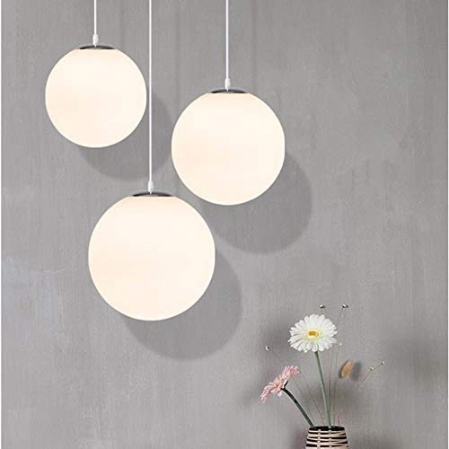 Glass Pendant Light Modern LED White Globe Ball Hanging Lamp For Living Room Bar Kitchen Fixtures Luminaire indoor home lighting,white,300mm#513 Ball Socket Mount