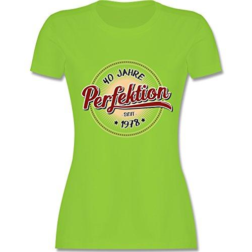 Geburtstag - 40 Jahre Perfektion Seit 1978 - Damen T-Shirt Rundhals Hellgrün