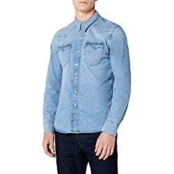 Levi's Barstow Western Camisa Vaquera, Azul (Brooklyn Stretch Light 0253), Medium para Hombre