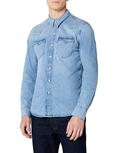 Levi's barstow western, camicia in jeans uomo, blu (brooklyn stretch light 0253), small