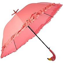 Fallen Fruits - Paraguas con volantes, diseño de flamenco rosa, apertura automática, soporte