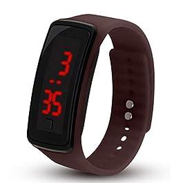 Bambini di orologio da polso digitale touch screen LED Bracciale Fascia di Orologio per bambini, nastro a Orologio Sportivo da Polso Orologio Orologio marrone