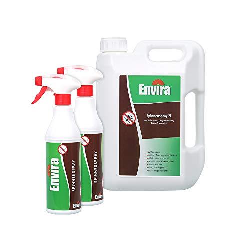 Envira Spinnen-Spray - Anti-Spinnen-Mittel Mit Langzeitwirkung - Geruchlos & Auf Wasserbasis - 2 x 500 ml + 2 Liter