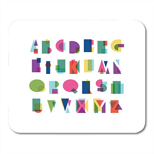Preisvergleich Produktbild Mouse Pads Abstract Circle Overlapping Shapes Alphabet That is Colorful and Reminds of The Bauhaus School 80S 90S Mouse Pad