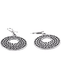 Her Rang Women's Handcrafted Antique Silver Plated German Silver Fashion Earrings, Silver Color