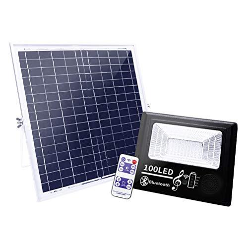 100 LED Projecteur Solaire, Lampe Solaire Extérieur avec Télécommande et Haut-parleur Bluetooth, 4 Modes d'éclairage, 3 Timing, IP67 Étanche Lumiere Solaire pour Jardin, Murs, Patio, Blanc Froid