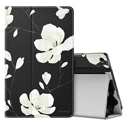 MoKo Hülle Fire HD 10 Tablet (7th Gen.- 2017 Modell), Ultra Slim Lightweight Schutzhülle Smart Cover Case Translucent Rückseit für Fire HD 10,1 Zoll Tablette - Schwarze & Weiße Magnolie -