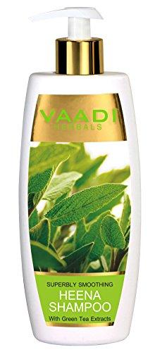Heena con estratti di tè verde shampoo Smoothing shampoo all Natural Herbal shampoo senza parabeni solfato libero cuoio capelluto terapia terapia umidità adatto per tutti i tipi di capelli 350ml–Vaadi Herbals