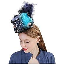 CHENJUAN Sombrero Sombrero de copa, Sombrero de turquesa real, Sombrero de carrera de caballos