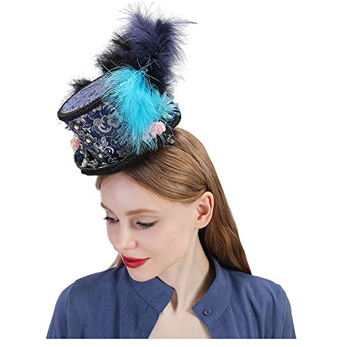 nder, Türkis Royal Ascot, Pferderennen Hut, Paisley Tea Party Hut, Hut Mad Hatter # (Farbe : Draw Blue, Größe : 25-30cm) ()