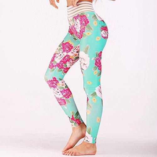 ZCJB Yoga Hose Damen Frauen Fitness Hohe Taille Leggings Floral Bedruckte Spandex Workout Legging Hosen Mode Weibliche Sommer Leggings Plus Größe Yoga Leggings (Floral Spandex-leggings)