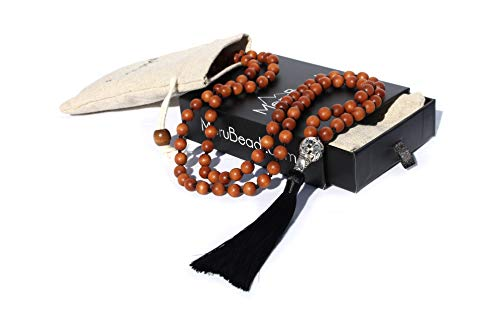 Premium Sandalwood Mala Beads Necklace - 108 Mala Beads 8mm - Japa Mala Beads - Wood Mala Beads for Women - Tibetan Mala Beads - Buddhist Mala Beads - Sandalwood Necklace -