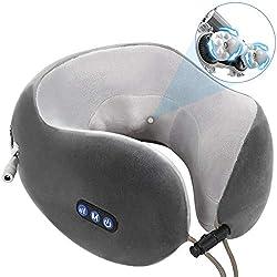 Nackenmassagegerät Shiatsu Massagegerät Elektrisch Massagekissen U-Förmige Reisekissen für Nacken Schulter Rücken Muskelschmerzen Erleichterung 3D-rotierenden Massageköpfen für Haus Büro Reisen.