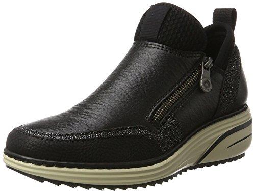 Rieker Damen M9350 Hohe Sneaker, Schwarz (Schwarz/Noir-Argent/Schwarz/Schwarz), 41 EU (Sohlen High-top-sneakers)