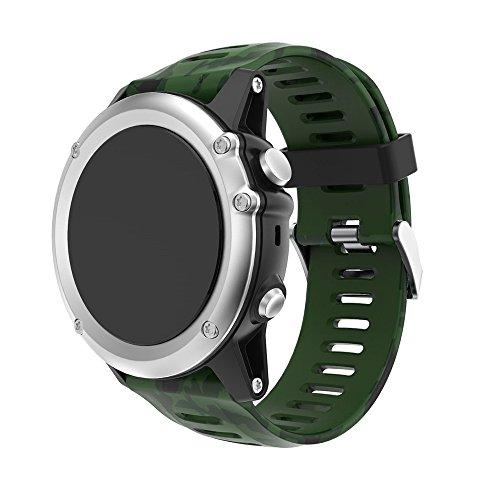 JiaMeng paraGarmin Fenix 3 GPS Watch,Banda de Reloj de Silicona Suave reemplazo Correa de Silicona Suave de Repuesto(E)