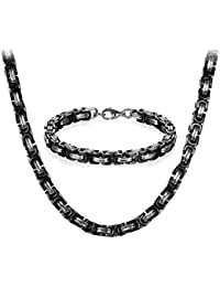 JewelryWe Jewellery Stainless Steel Necklaces and Bracelets for Men Black Silver Bracelets 8 mm Wide and 21.5 cm for Bracelet 22/24/26 Inch for Necklace
