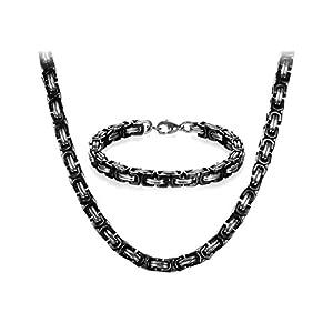 JewelryWe Schmuck Edelstahl Ketten Set von Halsketten und Armketten für Herren schwarz Silber Armbändern 8mm breit und 21,5 cm für Armband, 22/24/26 Zoll für Halskette