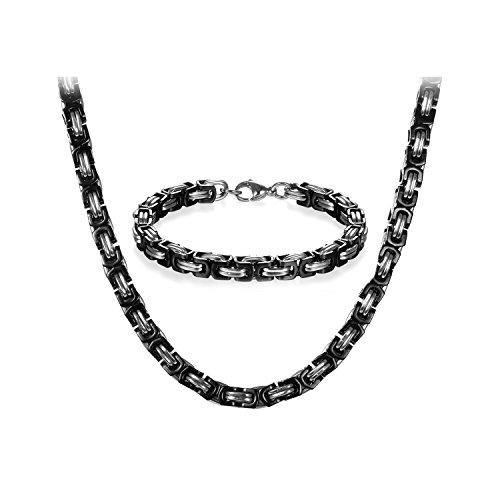 JewelryWe Schmuck Edelstahl Ketten Set von Halsketten und Armketten für Herren schwarz Silber Armbändern 8mm breit und 21,5 cm für Armband, 24 Zoll für Halskette