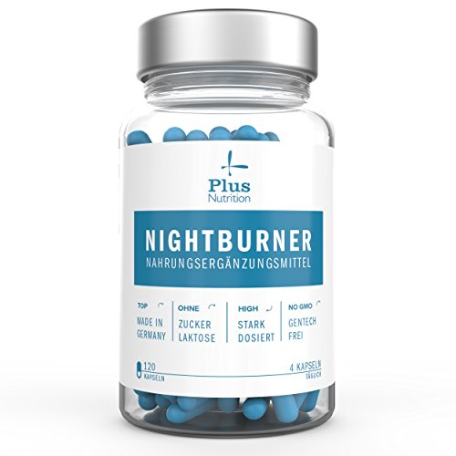 Plus Nutrition Nightburner - Hochdosierter Fatburner zur Anregung von Fettverbrennung und Verdauung - Garcinia Cambogia, Apfelessig, Taurin - 120 Kapseln