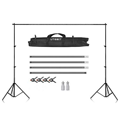 UTEBIT Studio 2.6M*3M Photography Backdrop Stand Kit with 4 Pack Backdrop Clamps Compatible for Portrait, Product Photography and Video Shooting - Foto Stand Hintergrund