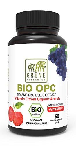 Grüne Elefanten's Bio OPC Traubenkernextrakt mit Bio Acerola Hochdosiert 2 Monatsvorrat - 390mg Kapseln Trauben aus Frankreich