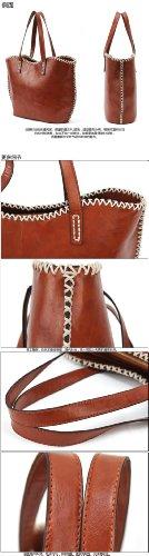 Donna Gaorui vintage e ravioli a forma di corda lady borsa in pelle pu borsa a tracolla borsa per la spesa Marrone (marrone)