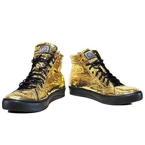 Modello Dyncollo - 43 - Cuero Italiano Hecho A Mano Hombre Piel Color Oro Zapatos Casuales Sneakers...