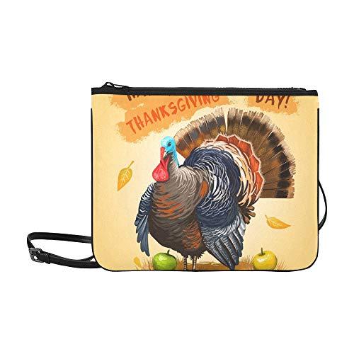 WYYWCY Glücklicher Erntedankfest-Werbungs-Plakat förderndes kundenspezifisches hochwertiges dünnes Nylon-Handtasche-Kreuz-Körper Beutel-Umhängetasche -