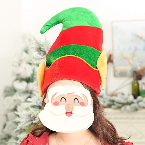 QGPWHLS Christmas Adult Elf Hut Mit Ohren Santa Kleine Helfer Kostüm Neuheit Party,B (Für Erwachsene Santa's Grüne Helfer Weihnachten Kostüm)