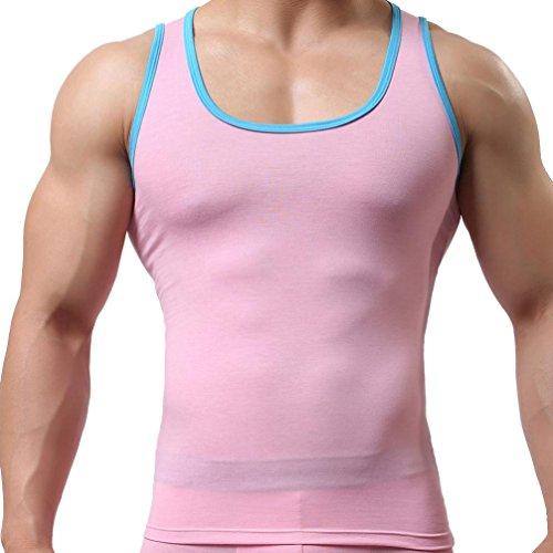VENMO Camisetas de Tirantes, Hombres Gimnasio Sport Elástica Musculares Verano Camisetas sin mangas (M, Color de rosa)