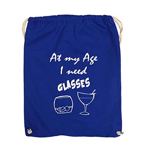 Comedy Bags - At my Age I need GLASSES - Turnbeutel - 37x46cm - Farbe: Schwarz / Pink Royalblau / Weiss