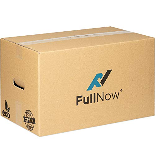 FULLNOW Pack 10 Cajas Cartón Grandes con Asas para Mudanza y Almacenaje Ultraresistentes, 500x300x300mm...