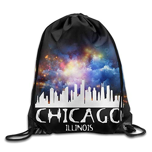 htrewtregregre Chicago City Skyline Logo Cool Drawstring Rucksack String Bag