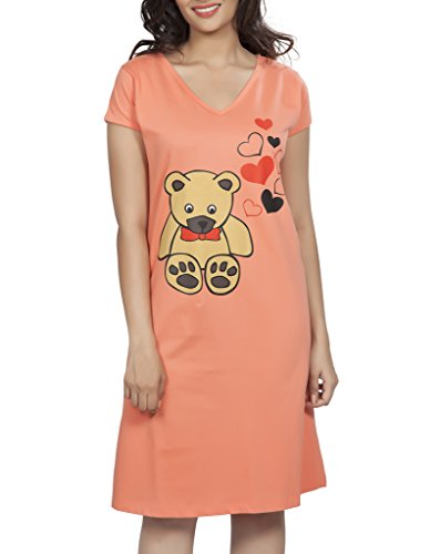 Clifton Womens Long Top Nightwear-Teddy - Deep Orange - IndyaGadgets.com ef0a47bbb