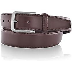 LUCHENGYI Elegante Cinturón de Cuero con Hebilla Rectáncular Ambiental de 35mm para Hombres en Color Marrón 115cm
