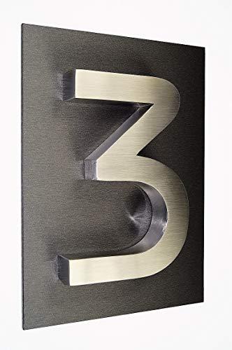 Hausschild Nr.3 Hausnummer Edelstahl V2A in ITC-Bauhaus-3D und 1 x Acrylplatte (29cm x 21cm -...