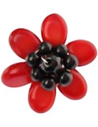 Chic-Net Korallenring- versilberter Ring mit roter Blume aus Koralle (ca. 3-5cm Ø) und schwarzen Perlen- handgefertigt- verstellbar