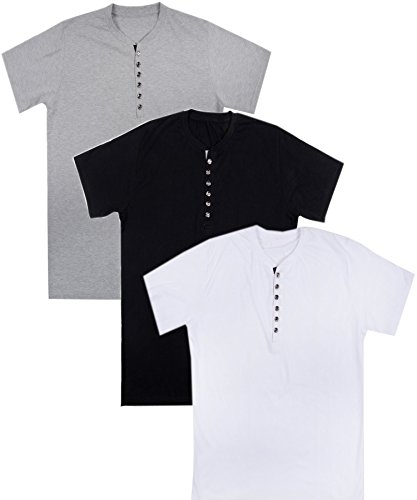 Aarbee Men's Cotton T-Shirt (Henley combo3_L_Black, White and Grey)