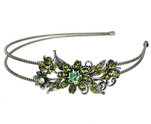 Strass Chrystal Blumen Haarreif Hochzeit Blumenmädchen Haar Reifen Grün Silber