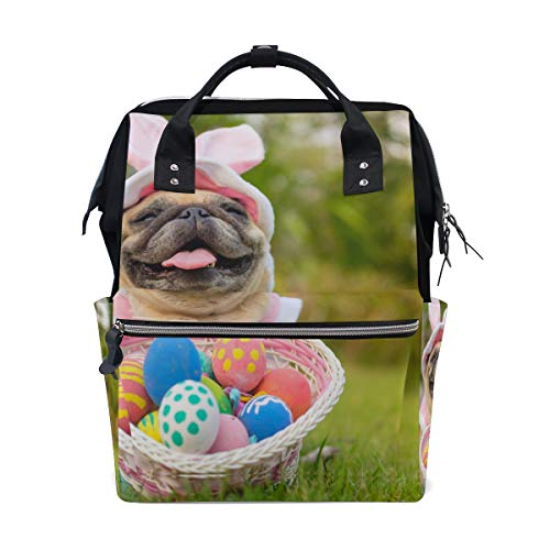 Süßer Hund mit Ostereiern Schulrucksack große Kapazität Mumien-Taschen Laptop Handtasche Casual Reiserucksack Schulrucksack Schulranzen für Damen Herren Erwachsene Teenager Kinder
