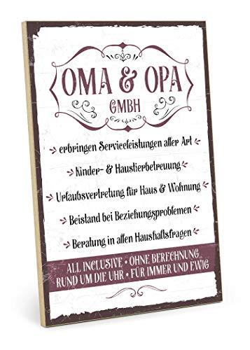 TypeStoff Holzschild mit Spruch - OMA UND Opa GmbH - im Vintage-Look mit Zitat als Geschenk und Dekoration zum Thema Großeltern und Eltern (19,5 x 28,2 cm) -