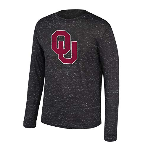 eLITe Top of The World NCAA Men's Oklahoma Sooners Dark Heather Hearitage Tri-Blend Long Sleeve Tee Black Heather Large - Oklahoma Sooners Jersey-material