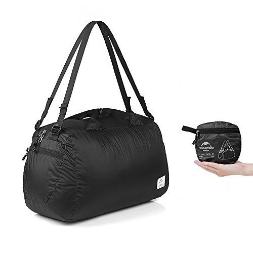 Naturehike 32L Ultraleichte faltbare Turnbeutel 145g Sport-Reisetasche Seesack für Frauen, Damen und Herren, wasserdichtes Nylon (Schwarz) (Nylon-reisetasche)