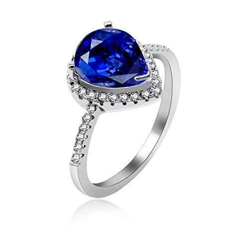 lber Pear Cut dunkelblauer Zirkonia Tear Drop Hochzeit Verlobungsringe für Frauen Solitaire Einstellung (blau, Größe 62 (19.7)) ()